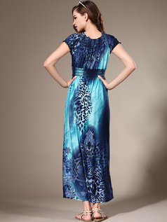 Sheath Scoop Ankle-length Chiffon Print Blue Maxi Dresses
