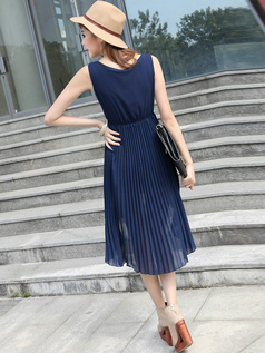 Sheath Scoop Mini Chiffon Beading High Low Dark Navy Prom Dresses With Sashes