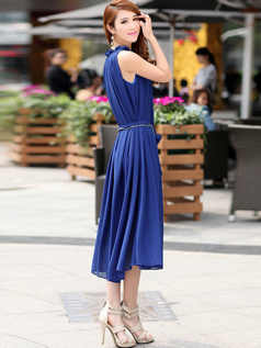 Sheath High neck Tea-length Chiffon Print Royal Blue Prom Dresses