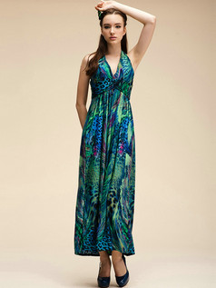 Column Ankle-length Meryl V-neck Green Maxi Dresses With Print