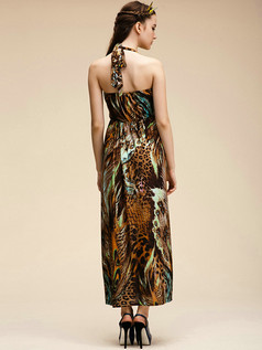 Column V-neck Ankle-length Meryl Print Chocolate Maxi Dresses