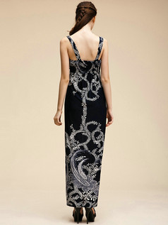 Column Straps Ankle-length Meryl Royal Blue Maxi Dresses With Print