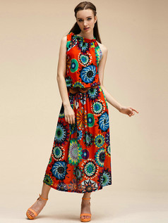 Column Round Brought Ankle-length Detachable Meryl Maxi Dresses With Print