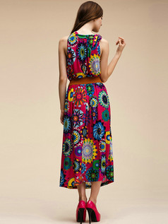 Column Round Brought Ankle-length Meryl Detachable Maxi Dresses