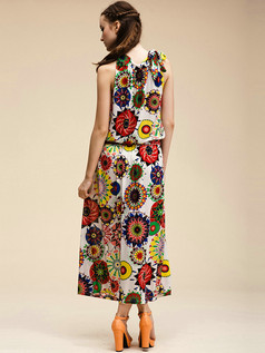 Column Round Brought Ankle-length Meryl Detachable White Maxi Dresses With Print