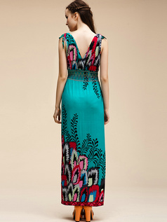 Sheath V-neck Ankle-length Chiffon Print Hunter Maxi Dresses