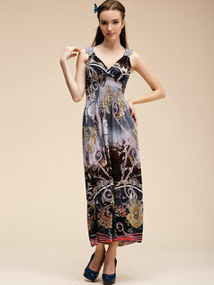 Sheath V-neck Ankle-length Chiffon Print Gray Maxi Dresses