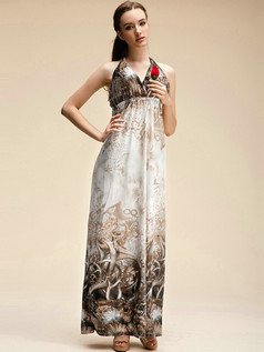 Column Halter Ankle-length Meryl Silver Maxi Dresses With Print