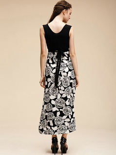 Sheath V-neck Ankle-length Cotton Black Maxi Dresses With Print