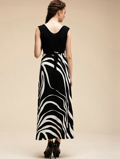 Sheath V-neck Black Ankle-length Cotton Maxi Dresses
