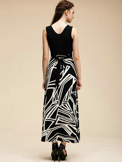 Column V-neck Crystal Linen Ankle-length Maxi Dresses With Print