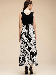 Sheath V-neck Black Ankle-length Print Cotton Maxi Dresses
