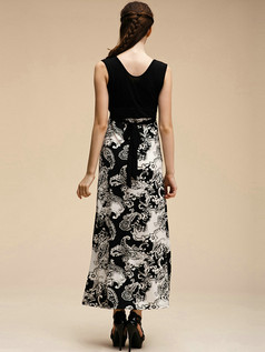 Column V-neck Ankle-length Crystal Linen Black Maxi Dresses With Print