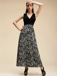 Column V-neck Ankle-length Crystal Linen Maxi Dresses With Print