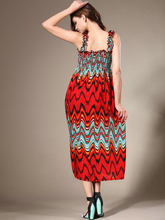 Sheath Straps Ankle-length Chiffon Print Red Maxi Dresses