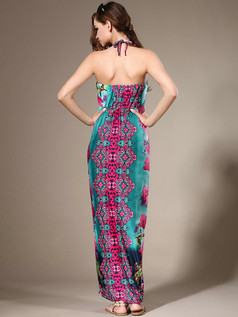 Sheath Halter Ankle-length Chiffon Blue Print Maxi Dresses