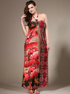 Sheath Halter Ankle-length Chiffon Print Red Maxi Dresses