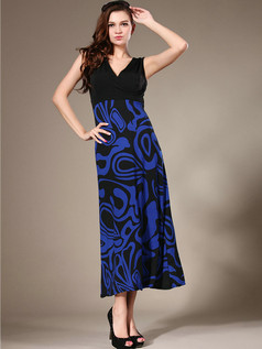 Sheath V-neck Ankle-length Chiffon Print Royal Blue Maxi Dresses