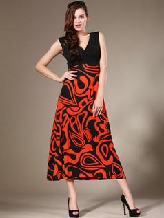 Sheath V-neck Ankle-length Chiffon Red Print Maxi Dresses