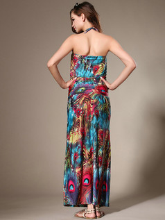 Sheath Halter Ankle-length Chiffon Print Blue Maxi Dresses