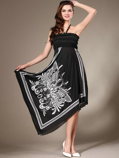 Sheath Halter Knee-length Chiffon High Low Print Black Prom Dresses