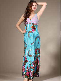 Sheath V-neck Ankle-length Chiffon Print Blue Maxi Dresses