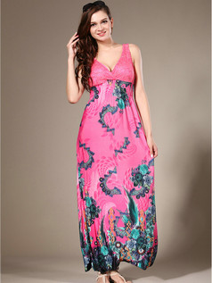 Sheath V-neck Ankle-length Chiffon Print Lilac Maxi Dresses