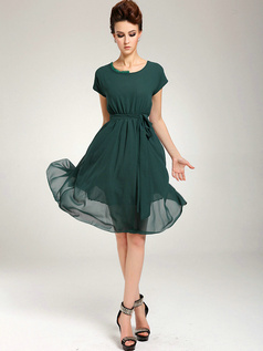 A-line Knee-length Chiffon Sashes Dark Green Prom Dresses With Asymmetrical Collar