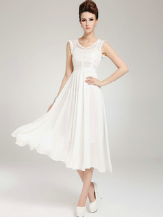 Column Tea-length Chiffon Lace Semi Transparent White Prom Dresses