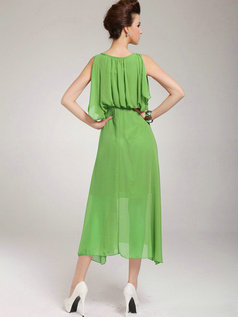A-line Round Brought Tea-length Chiffon Green Prom Dresses