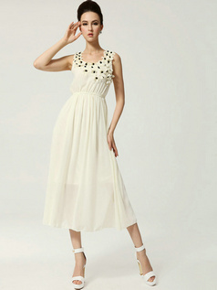 Column Scoop Tea-length Chiffon Flower Daffodil Prom Dresses