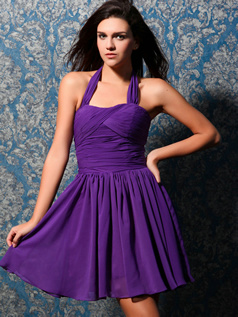 Precious A-line Halter Short/Mini Draped Homecoming Dresses