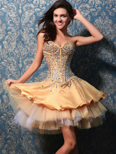 Adorable Princess Tulle Short/Mini Crystal Sweet 16 Dresses