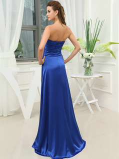 Terrific A-line Tube Top Sweep Split Front Evening Dresses