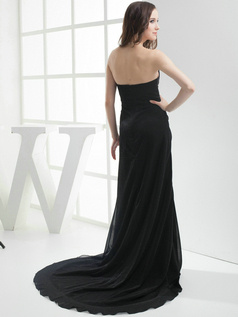 Snazzy A-Line Elastic Silk-like Satin Court Train Tiered Evening Dresses
