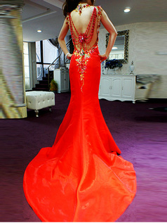 Mermaid High Neck Court Train Elastic Silk-like Satin Appliques Semi Transparent Top Open Back Prom Dresses