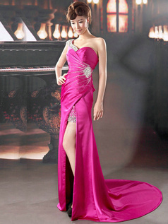 Sheath One shoulder Court Train Elastic Silk-like Satin Crystal Split Front Prom Dresses