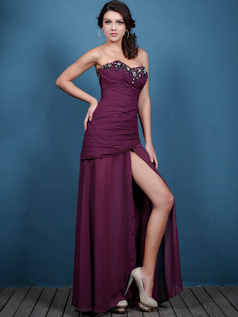 Perfect Over Hip Chiffon Floor-length Crystal Prom Dresses