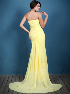 Brilliant Mermaid/Trumpet Chiffon Sweep Draped Evening Dresses
