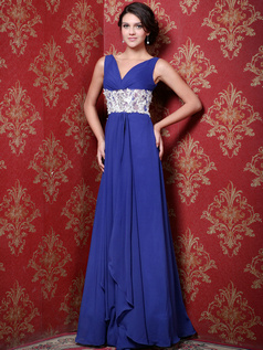 Astonishing A-line Chiffon Straps Lace Evening Dresses