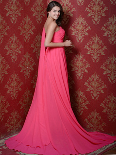 Phenomenal A-line Chiffon One shoulder Court Train Prom Dresses