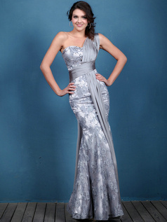Noble Mermaid/Trumpet Lace One shoulder Sequin Prom Dresses