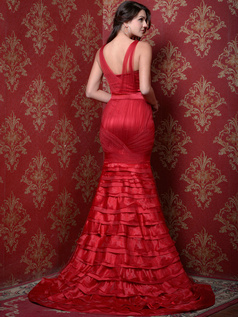 Magnificent Mermaid/Trumpet Satin Court Train Tiered Prom Dresses