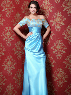 Retro Sheath/Column Stretch Satin Off-the-shoulder Appliques Prom Dresses