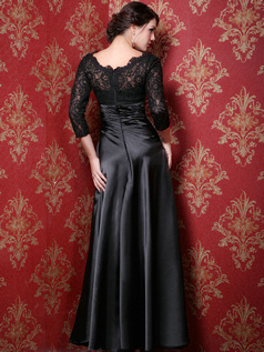 Amazing A-line Stretch Satin Bateau Lace Evening Dresses