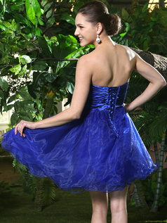 A-Line Short Navy Blue Strapless Prom Dresses with Rhinestone