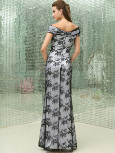 Retro Sheath/Column Lace Off-the-shoulder Floor-length Evening Dresses