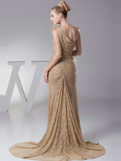 Elegant Mermaid/Trumpet Lace One shoulder Sweep Prom Dresses