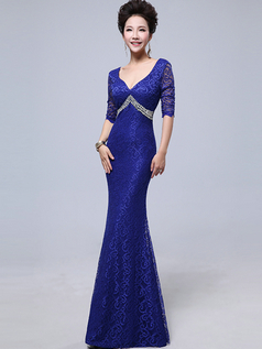 Mermaid V-neck Sweep Half Sleeve Side Split Crystal Lace Prom Dresses