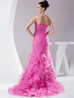 Sexy Mermaid/Trumpet Organza Court Train Split Front Prom Dresses